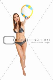Beautilful volleyball player woman in swimwear