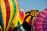 Hot-air balloons inflating