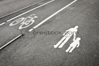 Pedestrian and bicycle reserved lanes