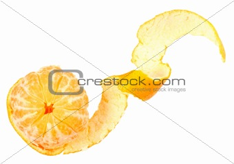 One peeled fruit of orange tangerine