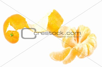 One peeled fruit of orange tangerine