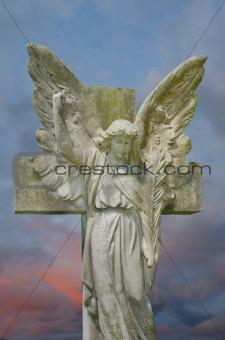 Angel against stormy sky