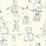 Seamless wallpaper with snowman