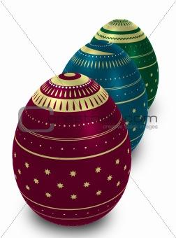 Three ornate eggs