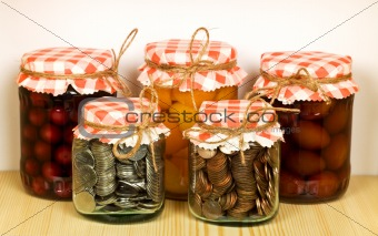 Canned goods on the shelf - savings concept