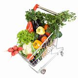 Fresh vegetable groceries in shopping cart