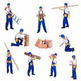 Handyman or worker involved in different activities