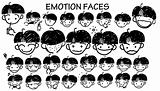 Cartoon face icons in black