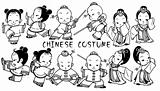 Chinese costume kids icons in black