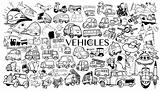 Vehicle Cartoon Icons In Black