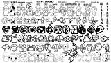 Western astrology cartoon icons in black