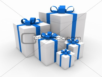 3d blue gift box christmas