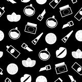 Elegant retro seamless Cosmetics pattern or background - Black &