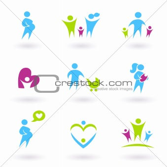 Pregnancy, Family and Parenthood icons isolated on white