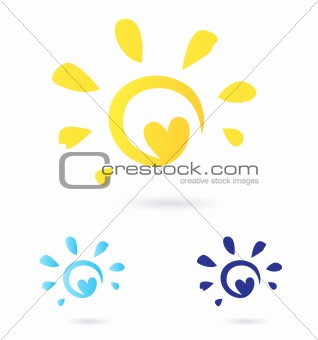 Abstract vector Sun icon with Heart -  yellow & blue, isolated