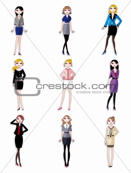 cartoon pretty office woman worker icon set