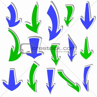 Arrows stickers different colors and shapes. Vector.
