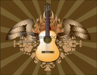 Spanish guitar with wings