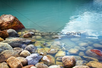 Closeup of rocks in water at lake Louise