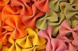 colored farfalle pasta background