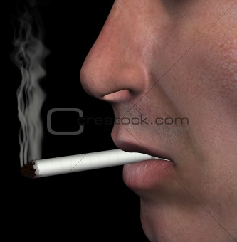 smoking man cigarette smoke illustration