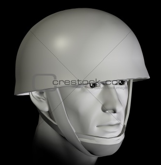 soldier with helmet 3d illustration
