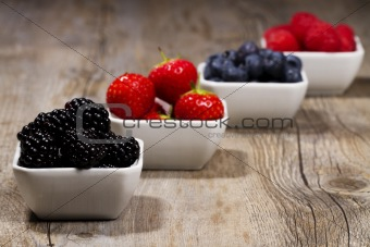 bowls with wild berries