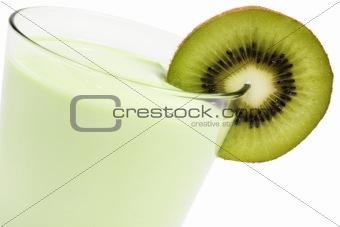 kiwi milkshake with a blade of kiwifruit