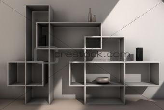 modern bookcase in gray