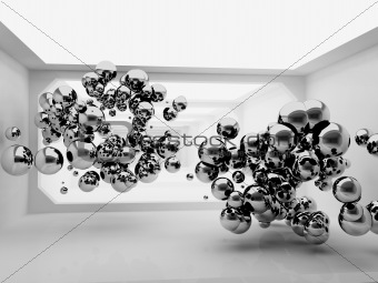 Abstract spheres in futuristic room