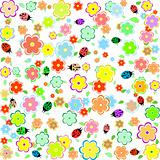 spring flowers with leaves and ladybugs on white background