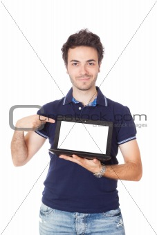 Man Holding Netbook with Blank Screen