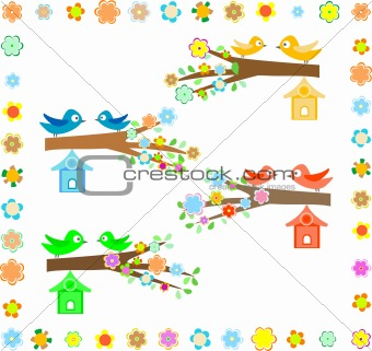 beautiful bird house on a branch of a flowering tree background