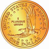 vector American Money, gold Dollar coin with the image of a flying
