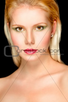 Portrait of beautiful blond hair girl. Retouched