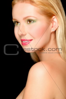 Portrait of smiling blond hair girl. Retouched
