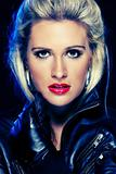 Portrait of beautiful woman in leather jacket. Retouched