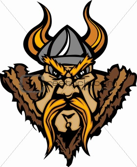 Viking Mascot Vector Cartoon with Horned Helmet