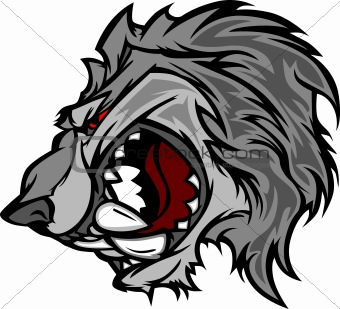 Wolf Mascot Vector Cartoon with Snarling Face