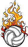 Volleyball Flaming Ball Vector Cartoon
