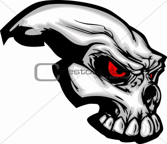 Skull with Cartoon Vector Image