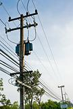 Transformer and electric line in rural of Thailand