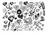 hand drawn hearts symbols