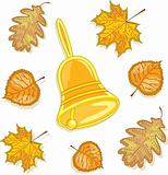A bell and autumn leaves,  vector illustration