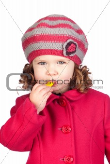 Smiling baby girl with wool cap