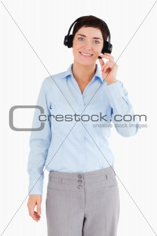Portrait of an office worker with a headset