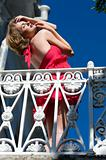 woman on the balcony. bottom view