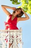 Beautiful woman on the balcony