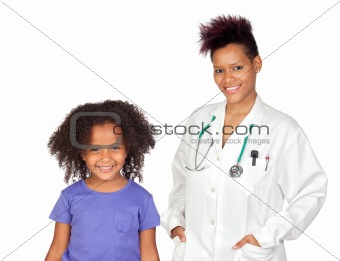 Pediatrician woman and pretty little girl
