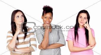 Three pensive girls